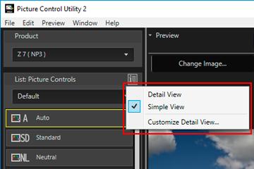 Using Palettes | Picture Control Utility 2 Help | Nikon