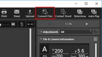 Converting and Outputting Files | ViewNX-i Help | Nikon