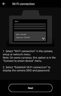 Direct Wi-Fi Connection   SnapBridge Help   Nikon